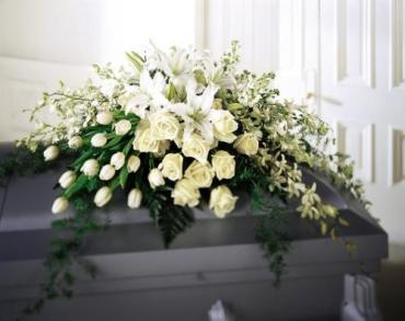 White Modern Casket Cover