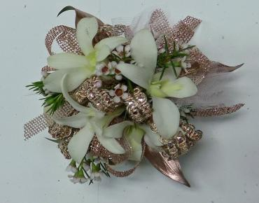 Rose Gold Orchid Wristlet Corsage
