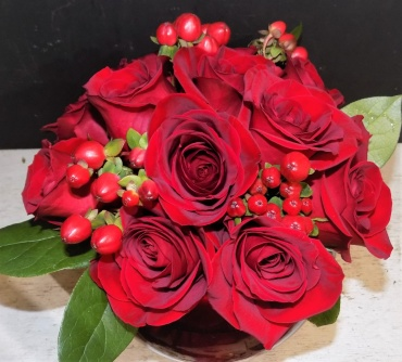 Pave Red Roses Dozen in a Bubble Bowl