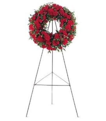 Red Wreath on a Stand