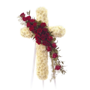 White Cross with Red Roses