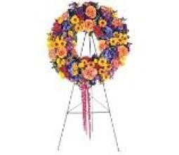 Bright Spring Wreath on a Stand
