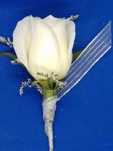 White Single Rose Boutonniere