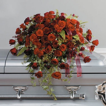Shades of Red Roses Casket Cover