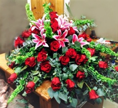 Red Roses and Stargazers Casket Cover