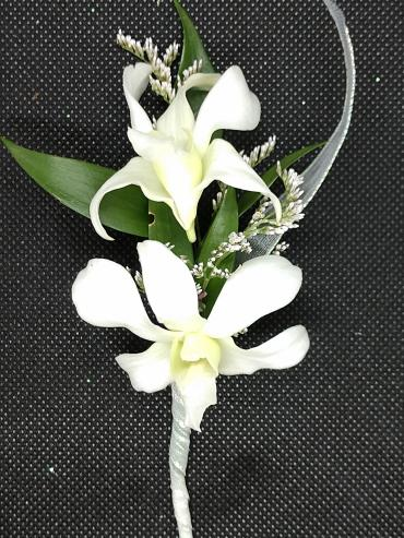 Double White Orchids Boutonniere