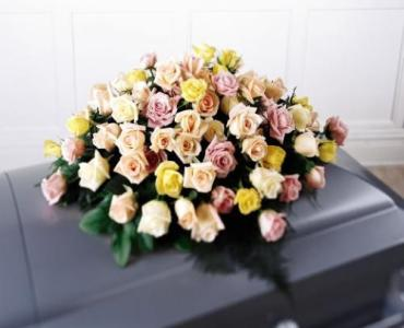 Mixed Pastel Colored Rose Casket Cover