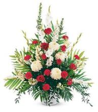 Large Red & White Funeral Basket