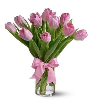 10 Light pink Tulips in a Vase