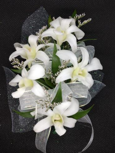 White Orchids Linear Wristlet Corsage