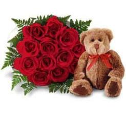 Dozen Medium Stemmed Red Roses Vased With a Bear