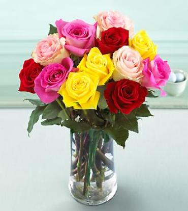 Medium Stemmed Mixed Color Rose Bouquet