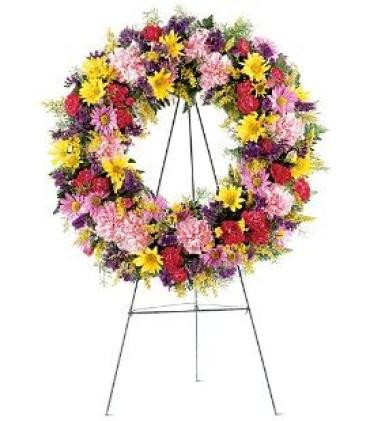 Small Mixed Spring Wreath on a Stand