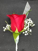 Red Single Rose Boutonniere