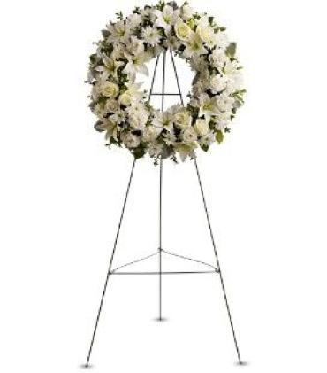 White Wreath on a Stand