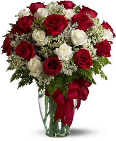 Dozen Red & Dozen White roses