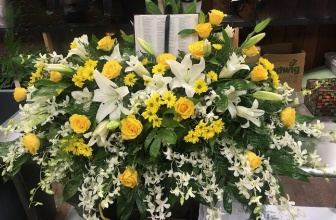 Yellow & White Bible Casket Spray