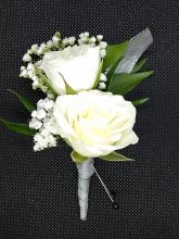 White Spray Roses Boutonniere