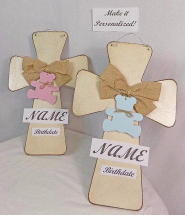 New Baby Personalized Door Cross Pink