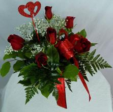 Half Dozen Red Long Stem Roses - Vday