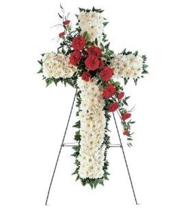 White Cross with Red Canations