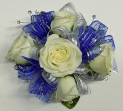 Blue and Silver White Rose Circular Wristlet