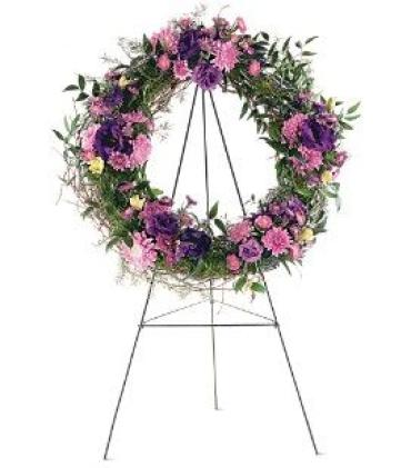 Purple Wreath on a Stand