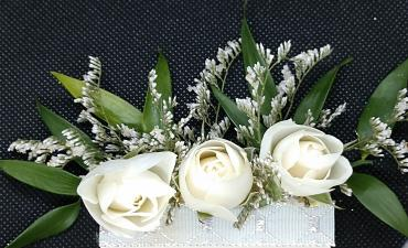 White Spray Roses Pocket Boutonniere