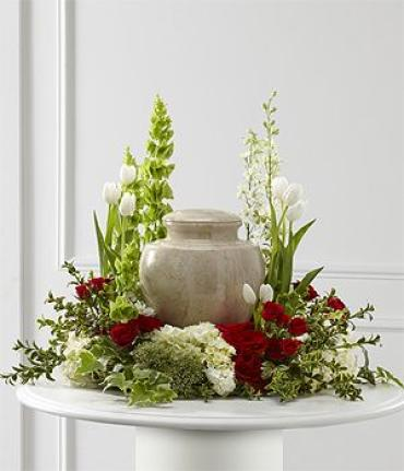 Red & White Modern Cremation Piece