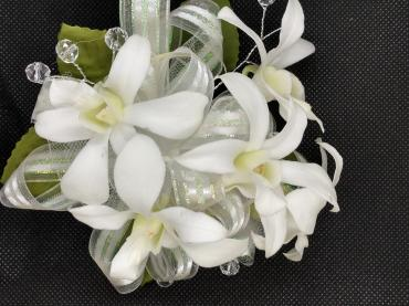 White Orchids Pre-made Wristlet Corsage