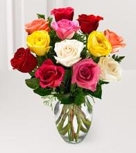 The Premium Long Stemmed Mixed Color Rose Bouquet