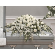 White Roses & Orchids Casket Cover