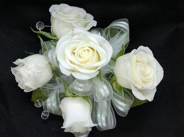 White Spray Roses Pre-made Wristlet Corsage