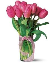 10 Pink Tulips in a Vase