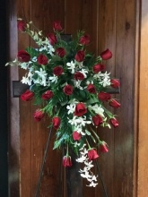 Red Roses and White Orchids Spray