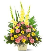 Pink & Yellow Funeral Basket