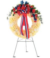 Patriotic Memorial Wreath on a Stand
