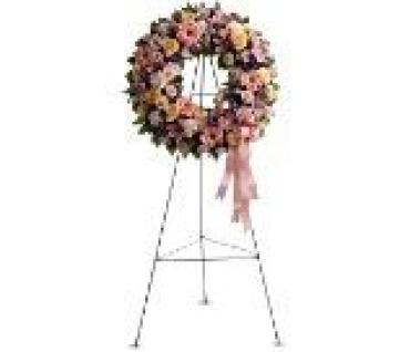Pastel Colored Wreath on a Stand