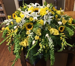 Yellow and White Casket Cover
