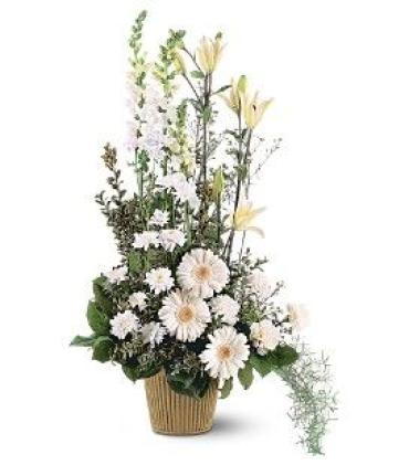 Tall White Funeral Basket