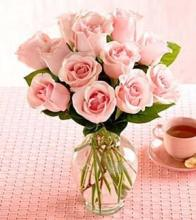 Dozen Pink Medium Stemmed Roses in a Vase
