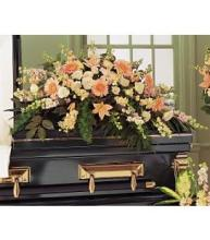 Peach Colored Casket Spray
