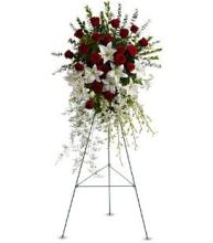 Large Red & White Spray on a Stand