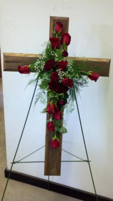 Wooden Cross of Red Roses