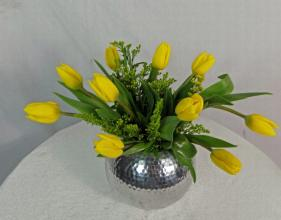 10 Tulip Upgraded in Silver Metal Bubble