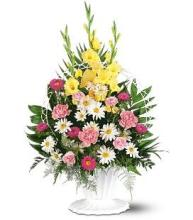 Pink, Yellow, & White Funeral Basket