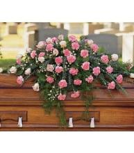 Pink Rose & Carnation Casket Cover