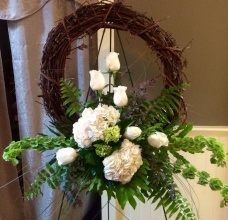 Grapevine Wreath with White Flowers